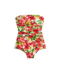 Hibiscus ruched bandeau one-piece swimsuit