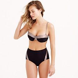 Metallic colorblock underwire bikini top