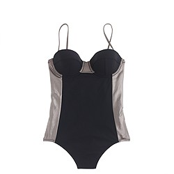 Metallic colorblock one-piece swimsuit