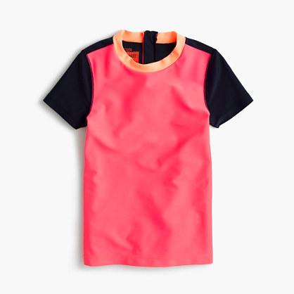 Girls' short-sleeve rash guard in colorblock