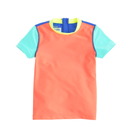 Girls' short-sleeve rash guard in colorblock