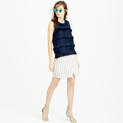 Linen crossover wrap skirt in stripe