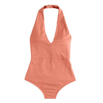 Italian matte halter one-piece swimsuit