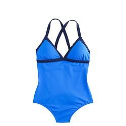 Colorblock crisscross one-piece swimsuit