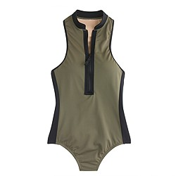 Zip-neck one-piece swimsuit