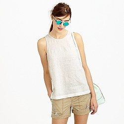 Tall embellished linen tank top