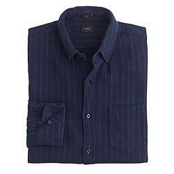 Slim cotton-linen shirt in pinstripe