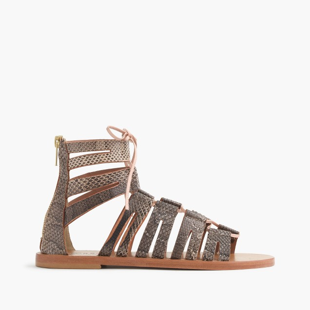 Aztec snakeskin lace-up gladiator sandals