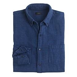 Slim cotton-linen shirt in glen plaid