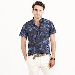 Secret Wash short-sleeve shirt in dusty coal floral