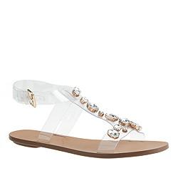 Jeweled T-strap sandals