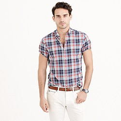 Secret Wash short-sleeve shirt in provence blue plaid