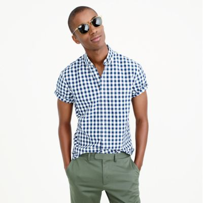Secret Wash short-sleeve shirt in vintage navy gingham