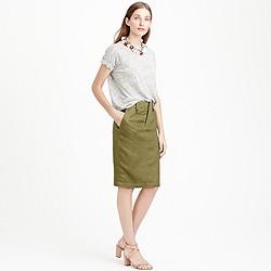 Linen cargo pencil skirt