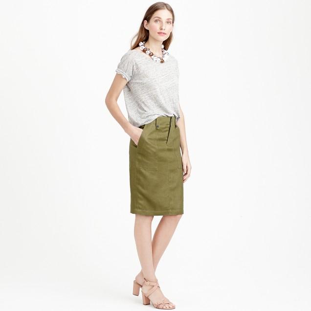 Tall linen cargo pencil skirt