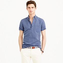 Irish linen popover shirt in royal indigo stripe