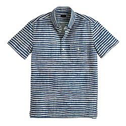 Short-sleeve cotton popover shirt in shibori print