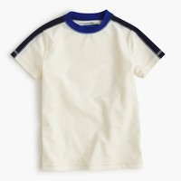 Boys' short-sleeve rash guard in varsity stripe