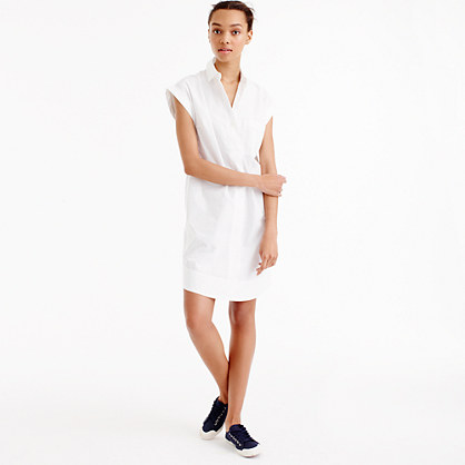 Petite short-sleeve cotton shirtdress