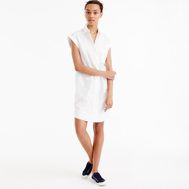 Tall short-sleeve cotton shirtdress