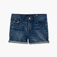 Broken-in boyfriend short in mackie wash