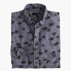Slim chambray shirt in palm tree print