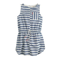Girls' bleached-out stripe chambray dress