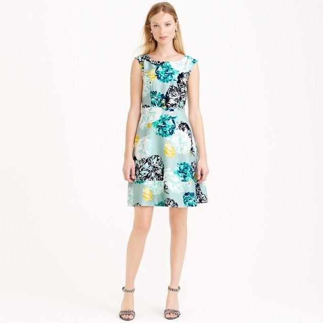 Aquatic floral silk dress