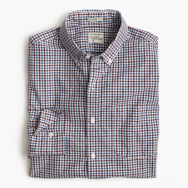 Slim Secret Wash shirt in tattersall
