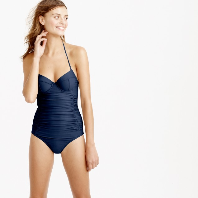 D-cup halter underwire one-piece swimsuit