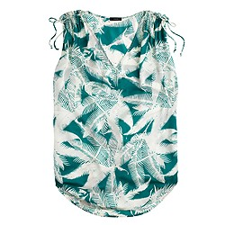 Sleeveless beach tunic in tropical fern
