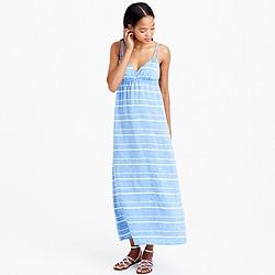 Linen maxi dress in stripe