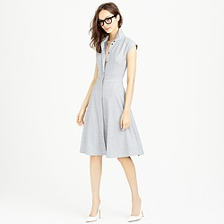 Cap-sleeve shirtdress in Super 120s wool