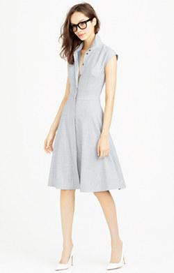 Cap-sleeve shirtdress in Super 120s wool