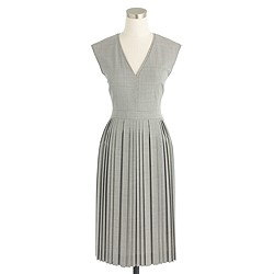 Pleated V-neck dress in Italian stretch wool