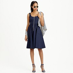 Petite poplin zip-front A-line dress
