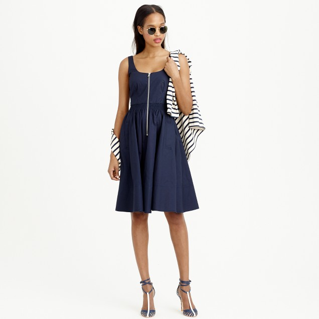Tall poplin zip-front A-line dress