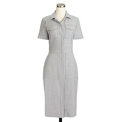 Utility shirtdress in Italian stretch wool