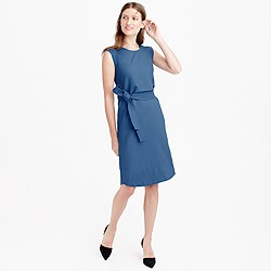 Sleeveless belted dress in Italian wool crepe