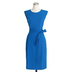 Petite sleeveless belted dress in Italian wool crepe