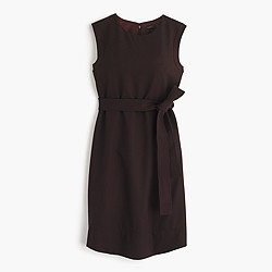 Petite sleeveless belted dress in Italian wool crepe