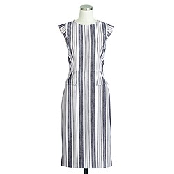 Petite patch-pocket sheath dress in striped tweed