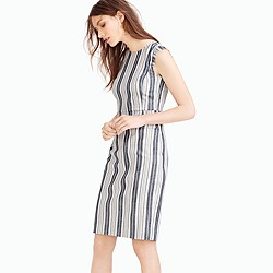 Patch-pocket sheath dress in striped tweed