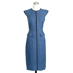 Petite patch-pocket sheath dress in tipped linen