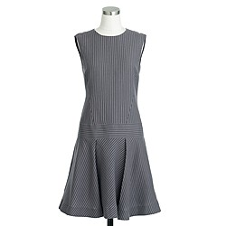 Drop-waist sleeveless dress in pinstripe