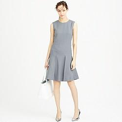 Drop-waist sleeveless dress in pinstripe