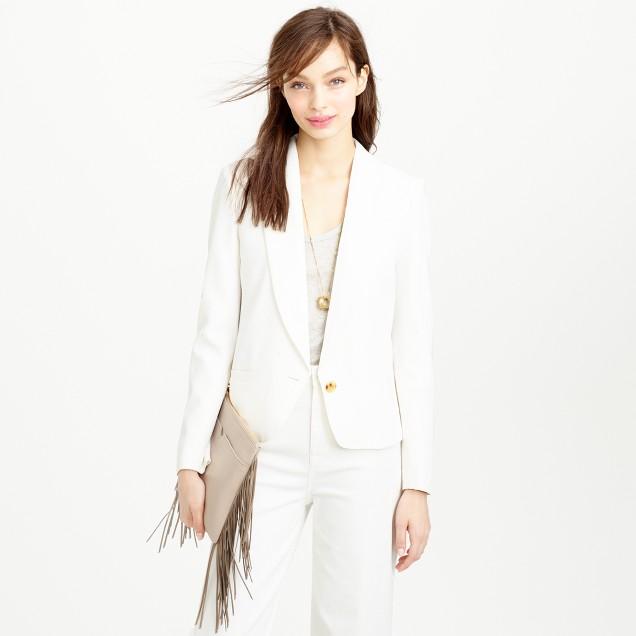 Petite cropped shawl-collar blazer