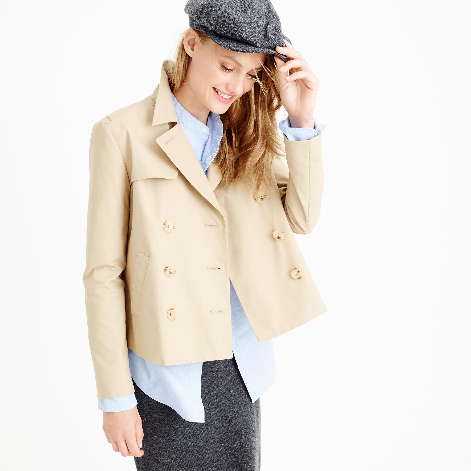 Petite Japanese poplin swing trench coat : | J.Crew