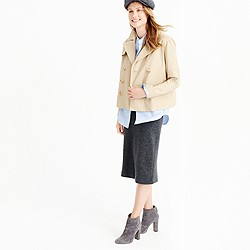 Petite Japanese poplin swing trench coat