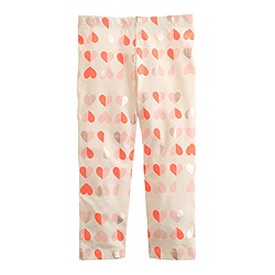 Girls' everyday capri leggings in flipped hearts
